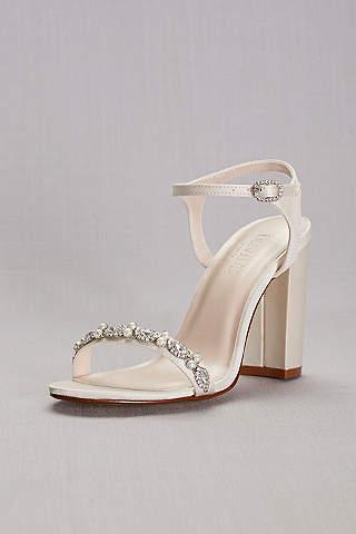 wedding shoes low heel davidu0027s bridal ivory sandals (embellished satin block heel sandals) IAGHXMH