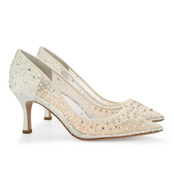wedding shoes low heel evelyn luxury jewel kitten heel ivory wedding shoes | bella belle shoe UQOLGPY