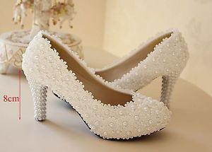 wedding shoes low heel image is loading white-ivory-lace-flower-bridal-high-heel-wedding- HBBDXMX