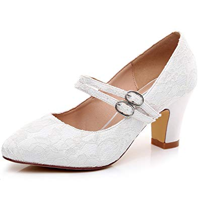 wedding shoes low heel luxveer lace bridal shoes shoes with straps, kitten low heel 2.5 inch-rs- UEBYMRX