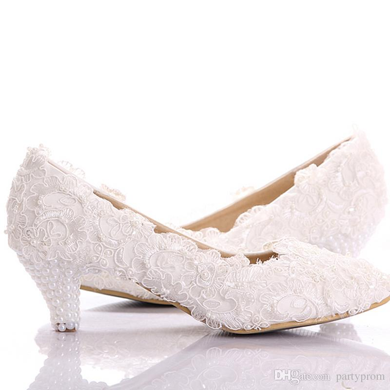 wedding shoes low heel new style white lace low heel wedding bridal shoes kitten heel bridesmaid  shoes elegant QLFCDBC