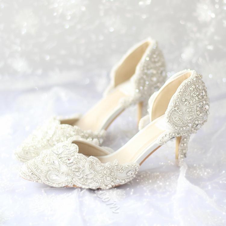 wedding shoes low heel shoespie lace rhinestone low heel bridal shoes RDIBZXL