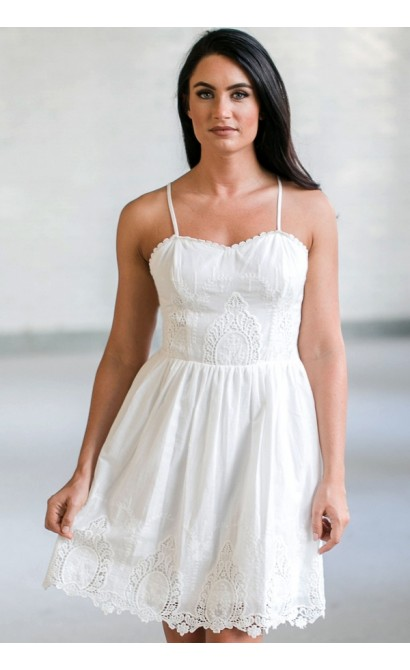white eyelet dress, cute white sundress, white summer dress online,  boutique dresses RONKKCX