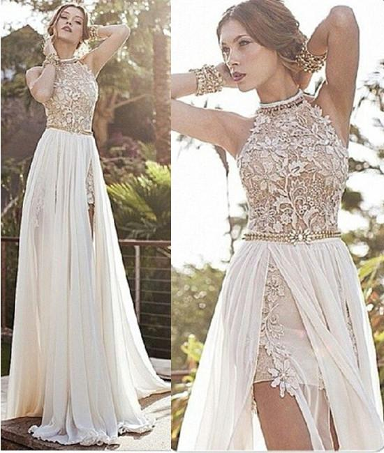 White Lace Prom Dress a line high neck backless white lace prom dresses, long backless white lace  formal XVURMDW