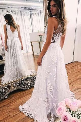 White Lace Prom Dress ... a-line white lace v-neck sleeveless evening prom dresses with sweep  train ok585 ... CUXVAAJ