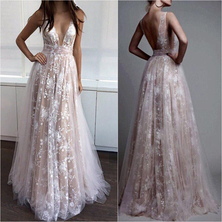 White Lace Prom Dress deep v-neck nude line white lace prom dresses,long formal dresses,pd2322 QXFBJKM