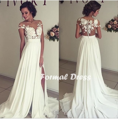 White Lace Prom Dress elegant white prom dress,a-line chiffon lace long prom gown,evening dress GCACHYH