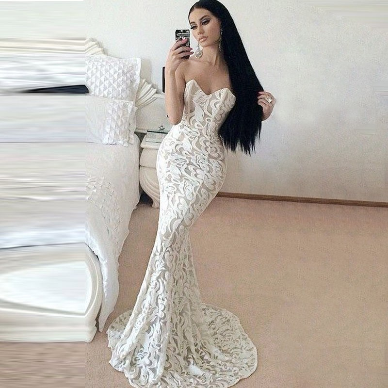 White Lace Prom Dress mermaid style sweetheart sweep train white lace prom dress TRMBKPG