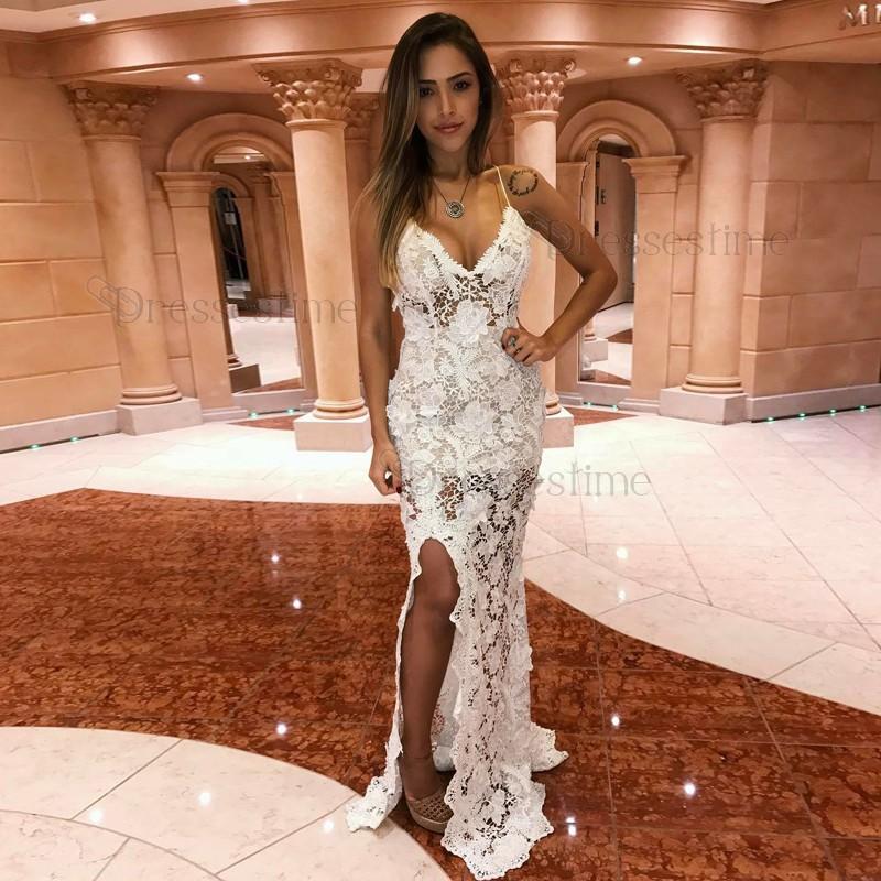White Lace Prom Dress sheath spaghetti straps backless floor-length white lace prom dress XKJLVGC