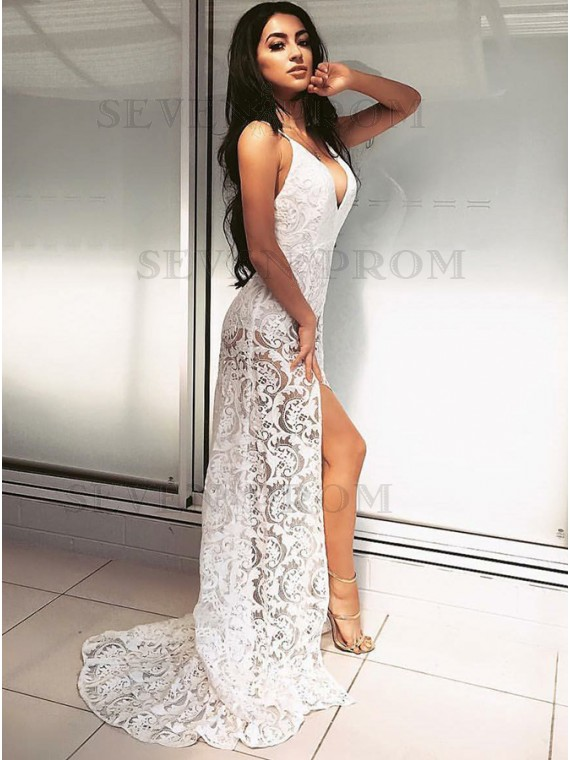 White Lace Prom Dress sheath spaghetti straps sweep train white lace prom dress UBTSPII