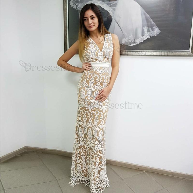 White Lace Prom Dress sheath v-neck sleeveless backless floor-length white lace prom dress CPVHFEN