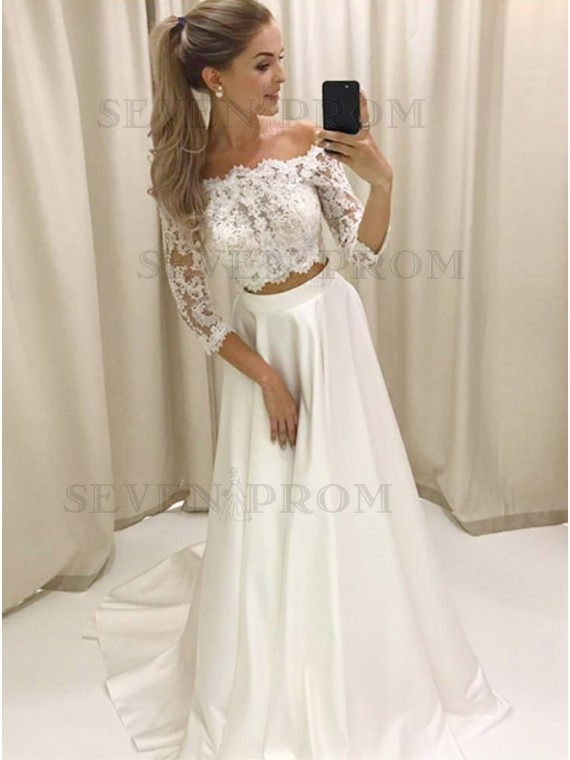 White Lace Prom Dress two piece off-the-shoulder 3/4 sleeves white satin prom dress with QZECEUH
