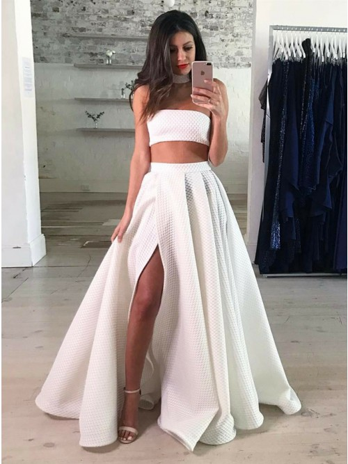White Lace Prom Dress two piece strapless floor-length white lace prom dress with split DWOKFCA
