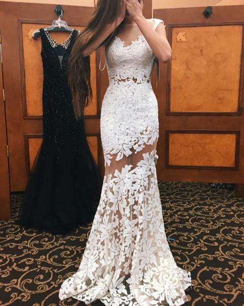 White Lace Prom Dress white lace prom dress,sweetheart mermaid long formal dress,wedding dresses RJNVIOT