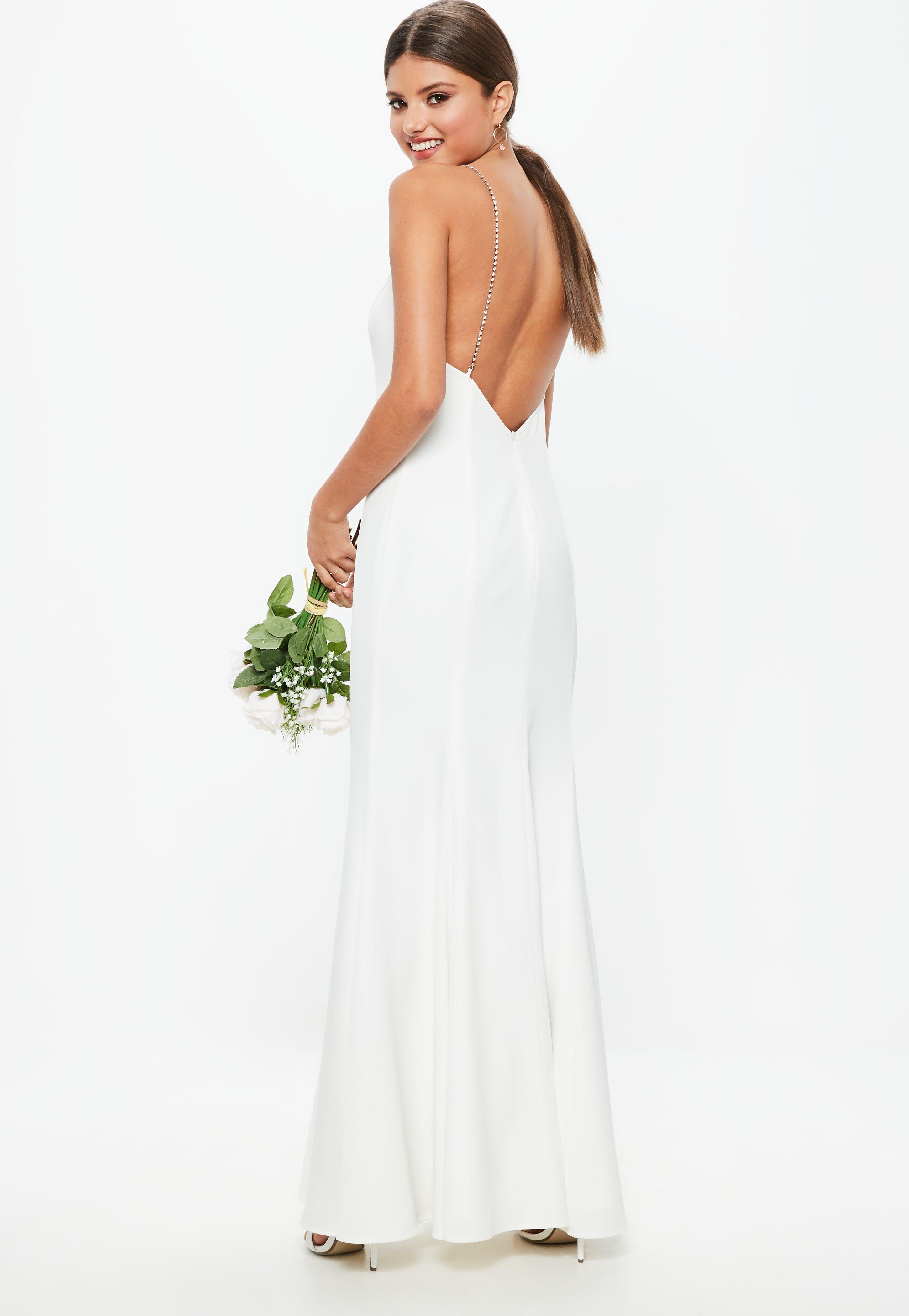 white maxi dress bridal white diamante strap maxi dress | missguided FLUMQNJ