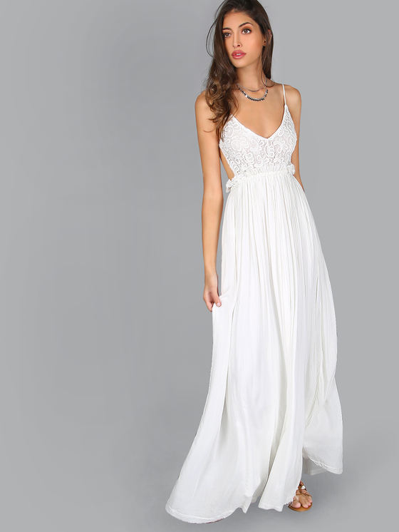 white maxi dress crochet raw hem maxi dress white | makemechic.com QXILUYG