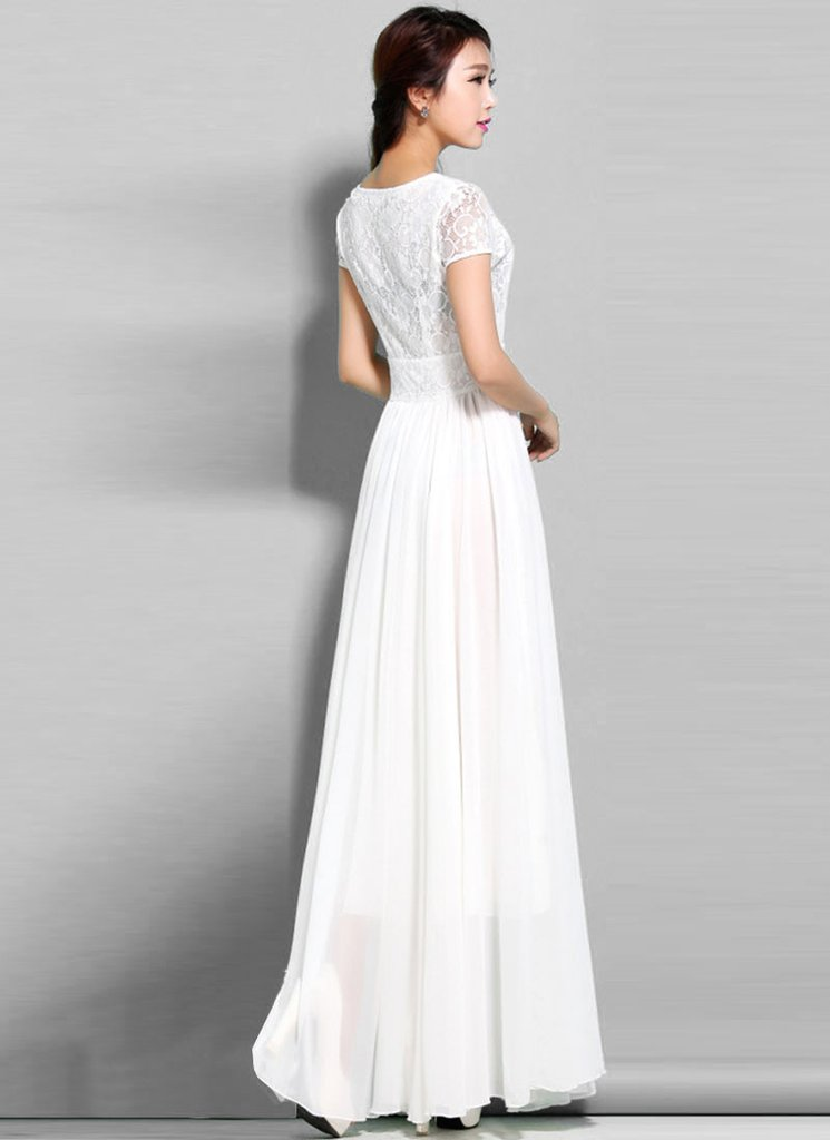 white maxi dress white lace chiffon maxi dress with cap sleeves IZBGSJB