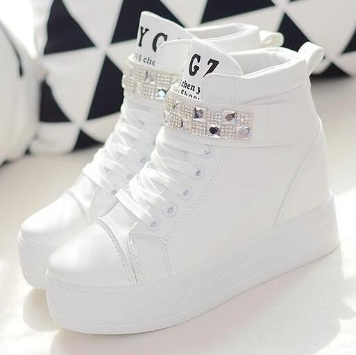 white shoes for women spring autumn high platform shoes for women 2017 rhinestone leather casual shoes  women white RQXLDBW