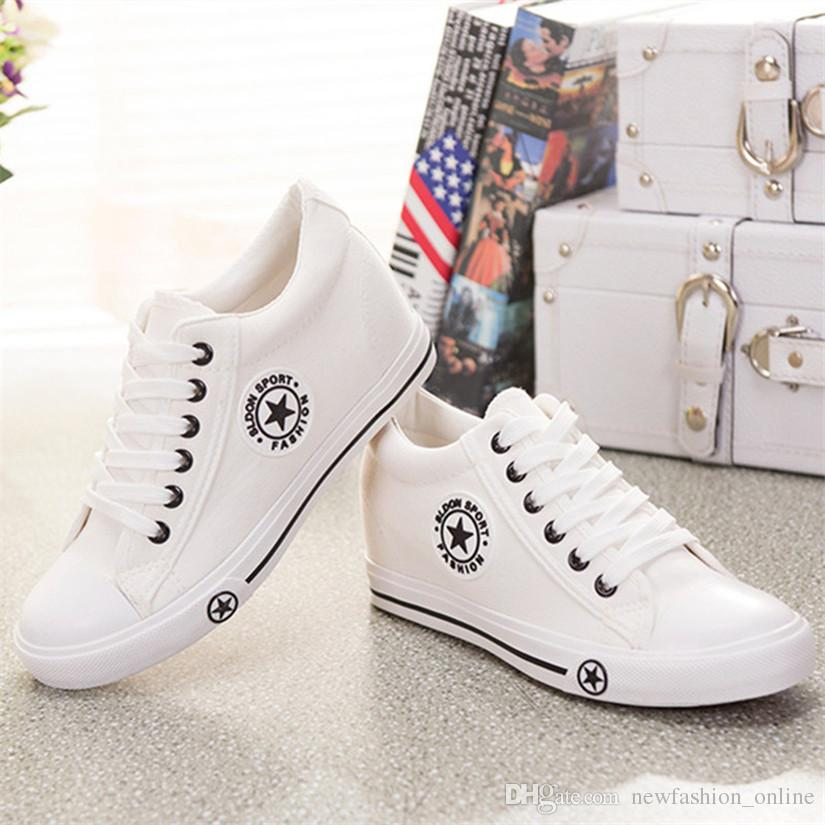 white shoes for women summer wedges canvas shoes women casual shoes female cute white basket  stars zapatos mujer CXLHZXE