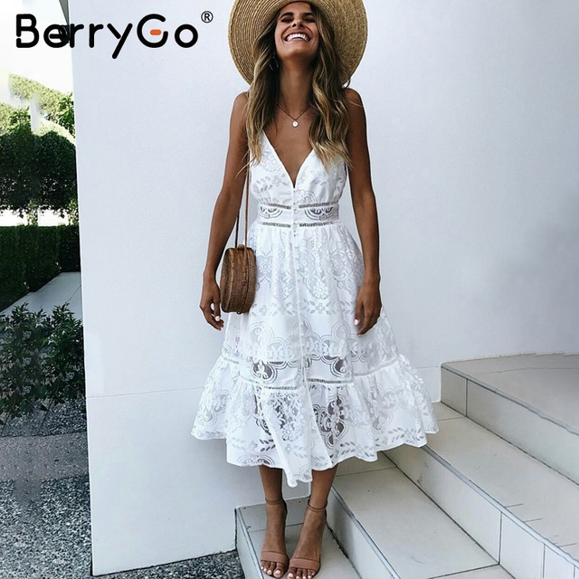 white summer dress berrygo v neck sexy lace summer dress women strap button casual white dress  female GDCWAGF