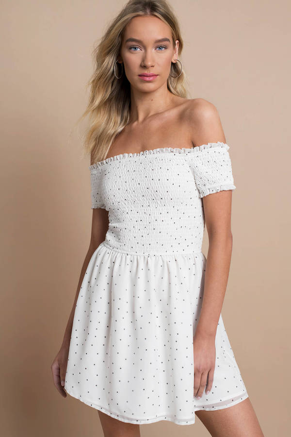 white summer dress eileen white polka dot skater dress ... IHEDKUL