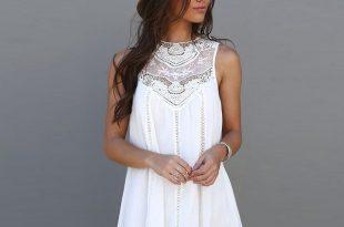 white summer dress fashion tassel solid white mini lace dress summer dress 2016 sexy women  casual sleeveless JVUIGGN
