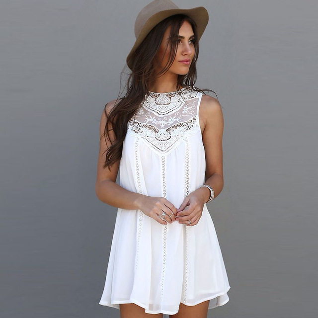 Look like an angel in white summer dress