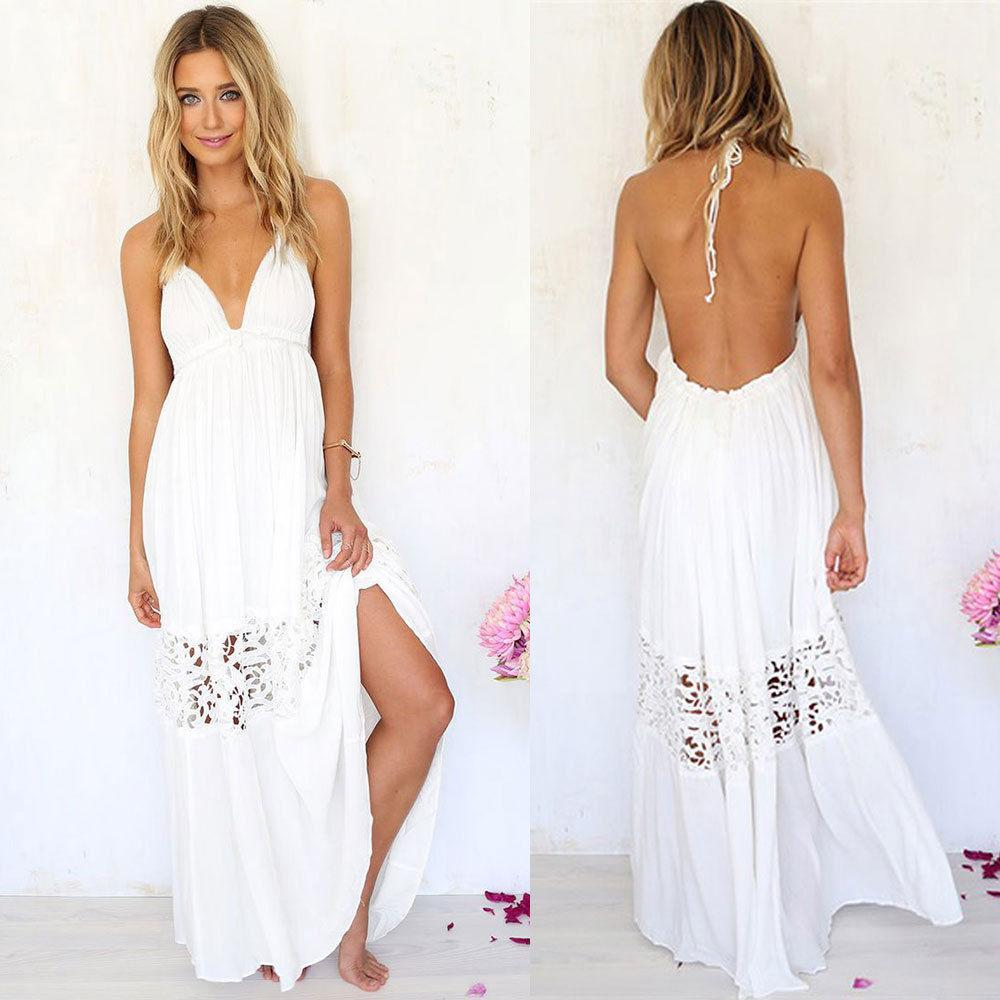 white summer dress sexy women summer boho lace long maxi evening party dress beach dresses  sundress summer ZTFPXBT