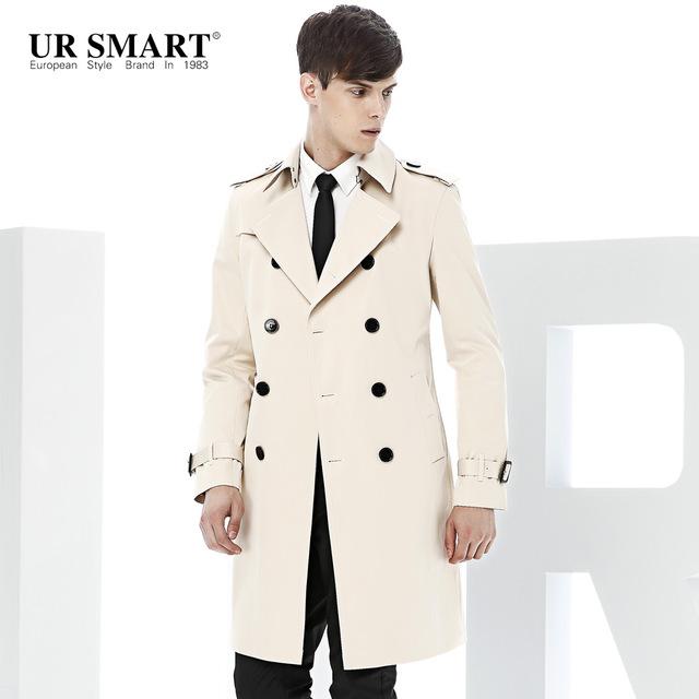 White Trench Coat paragraph dust coat grows ursmart double-breasted paragraph dust coat grows  rice white men long MLKEMST