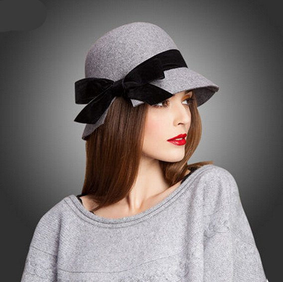 winter bow cloche hats for women fashion wool hat VLYEHMU