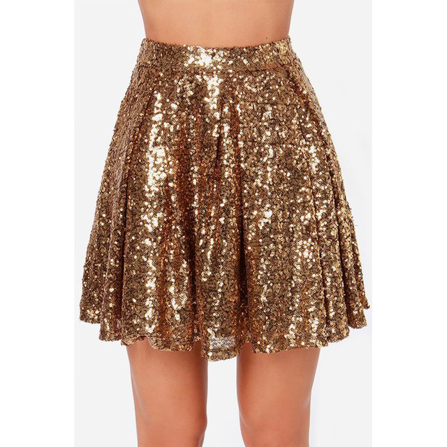 women gold sequin skirts bling sparkle short party pleated skirt summer  ladies high waist FWXEOPZ