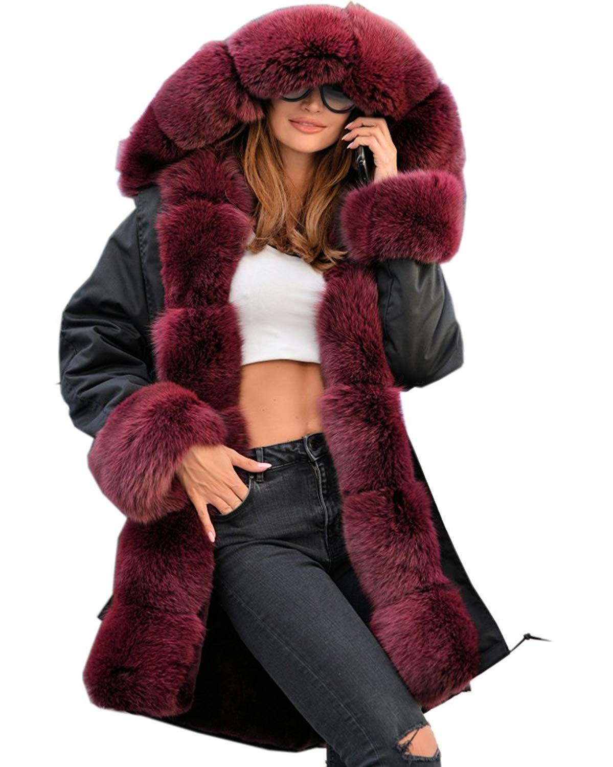 Women Winter Jackets roiii women ladies winter long warm thick parka faux fur jacket hooded coat  s-xxl JATNZJA
