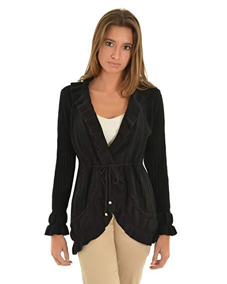 womens black cardigan sweater high low ribbed knit sweater tie belt long  sleeve sizes: OFNEWGE