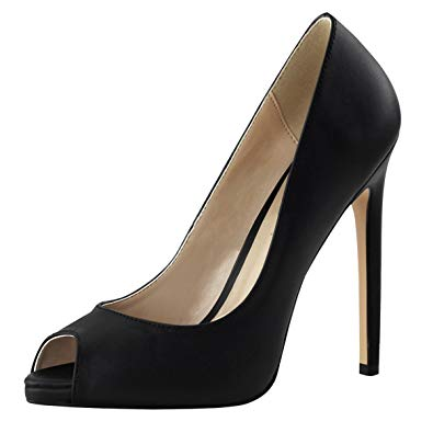 womens black stiletto heels peep toe pumps black leather shoes 5 inch heels  size: DHZQUCE