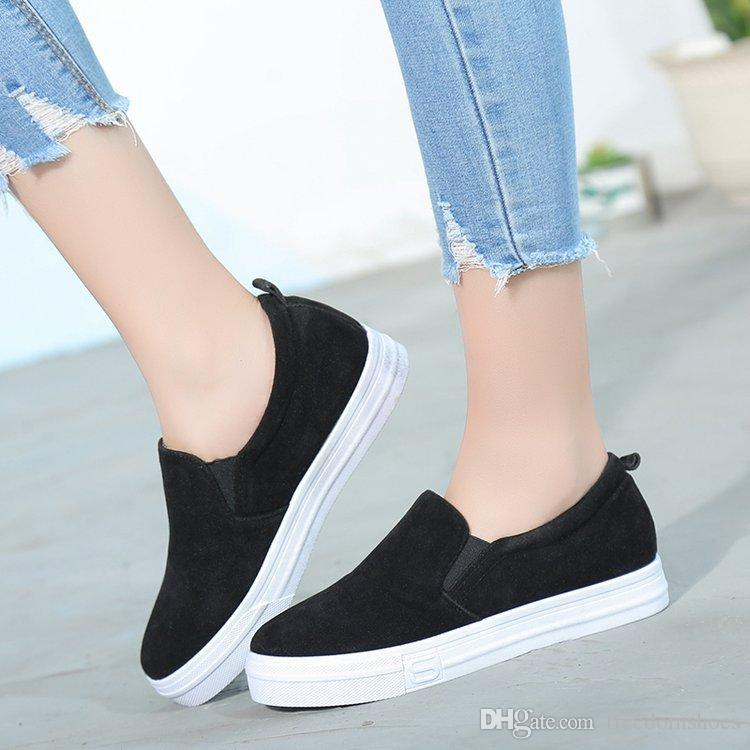 Womens Casual Shoes 2018 spring and fall women casual shoes brown slip on loafers gray black  comfortable WFVJYVF