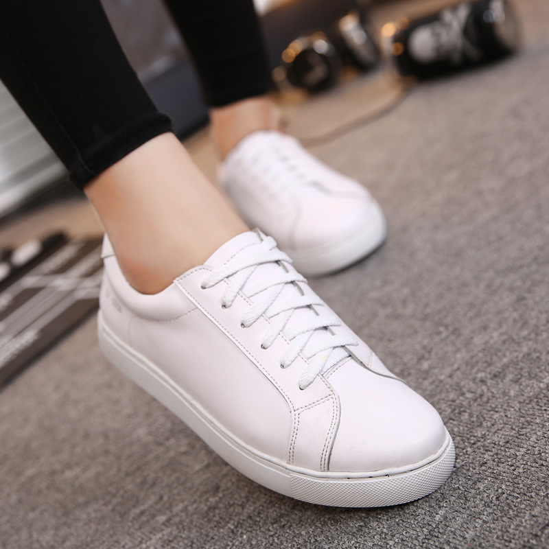 Womens Casual Shoes aier fashion lace-up platforms flat white casual shoes for women IIPDWQF