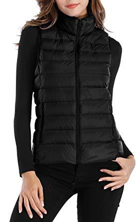 Womens Down Vest sarin mathews womens packable ultra lightweight down vest outdoor puffer  vest black s EBPBDEE