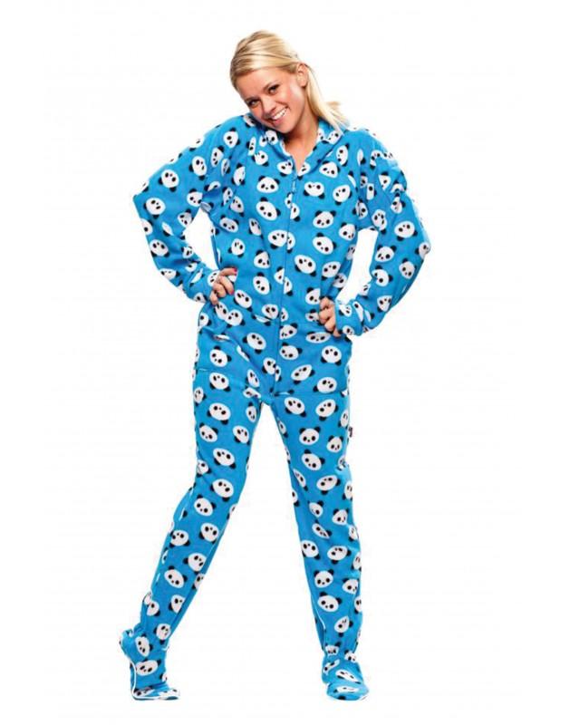 womens footed pajamas blue pandas adult footed onesie pajamas WFTSPYY