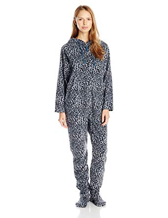 womens footed pajamas casual moments womenu0027s hooded one piece pajama, blue leopard print, small JJSSUWM