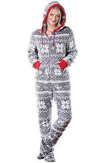 womens footed pajamas footed pajamas for women hoodie-footie™ - women, footie pjs for women, GQJWIWW