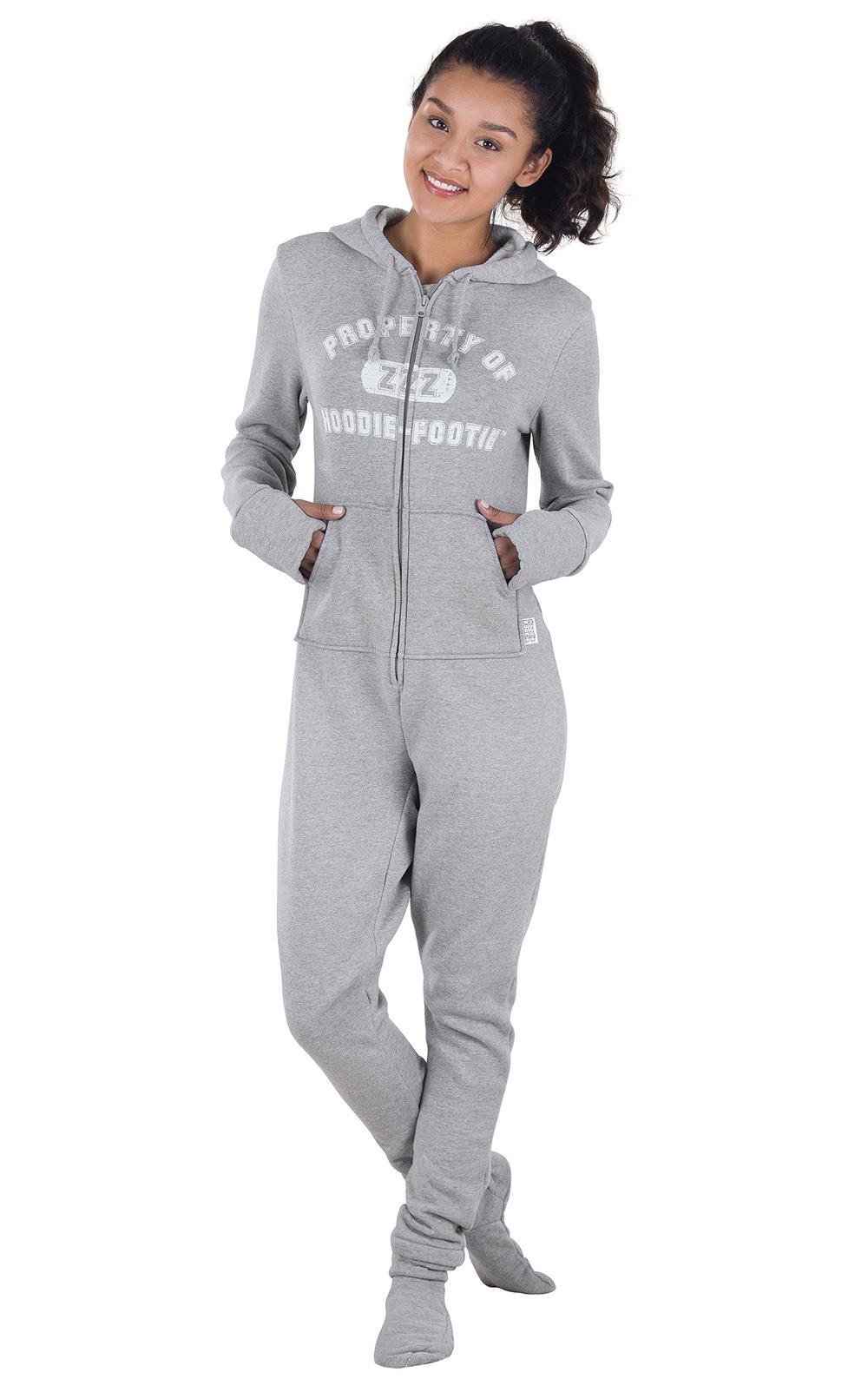womens footed pajamas hoodie footie - pajamagram EJCHGWE