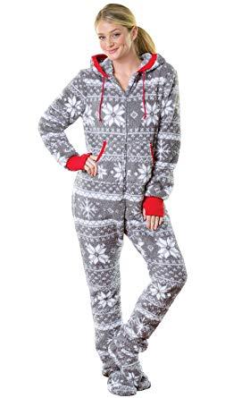 womens footed pajamas pajamagram hoodie-footie nordic fleece womenu0027s onesie pajama, gray, ... SURGXID