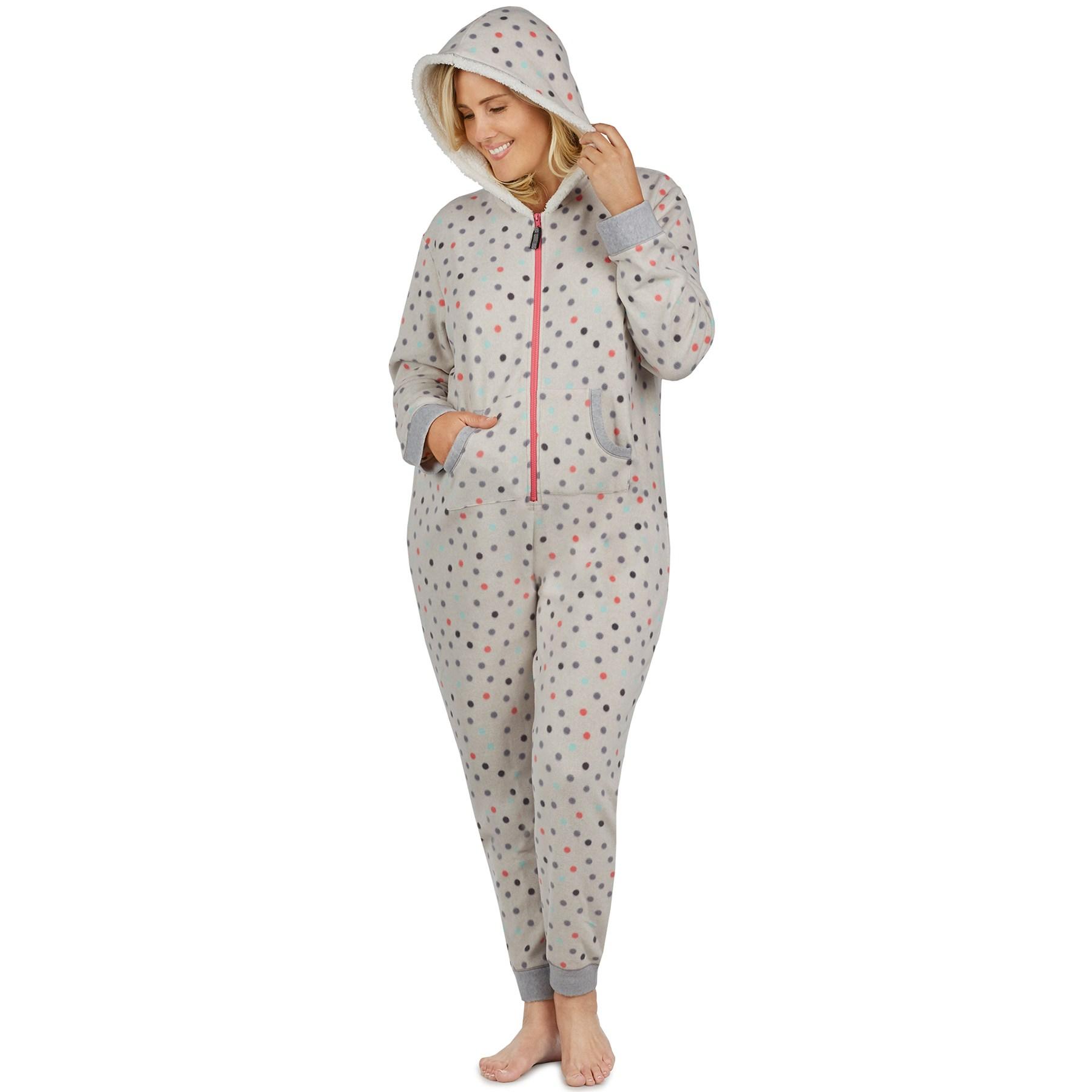 womens footed pajamas plus size cuddl duds fleece lined one-piece pajamas FQQCRQM