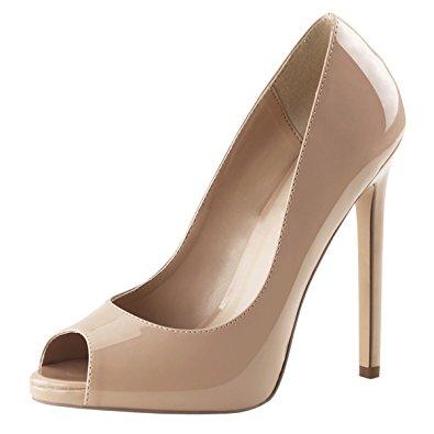 womens nude high heels peep toe pumps platform shoes dress stiletto 5 inch  heel CHMUMCW
