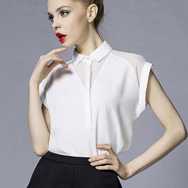 Womens White Shirts camisas femininas 2016 white shirt short sleeve blouse women clothes print  chiffon blouses fashion KNOQIJY
