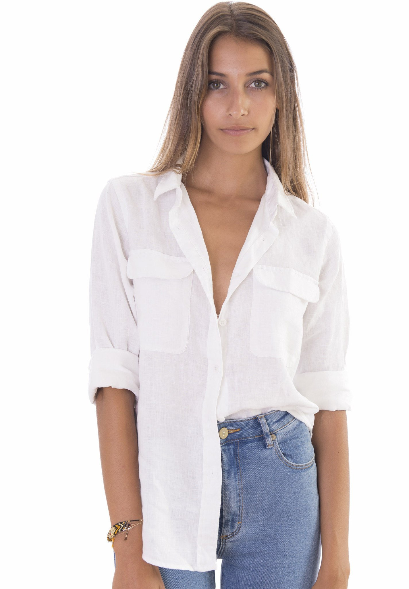 Womens White Shirts lete white, relaxed linen shirt with pockets GYHVOHU