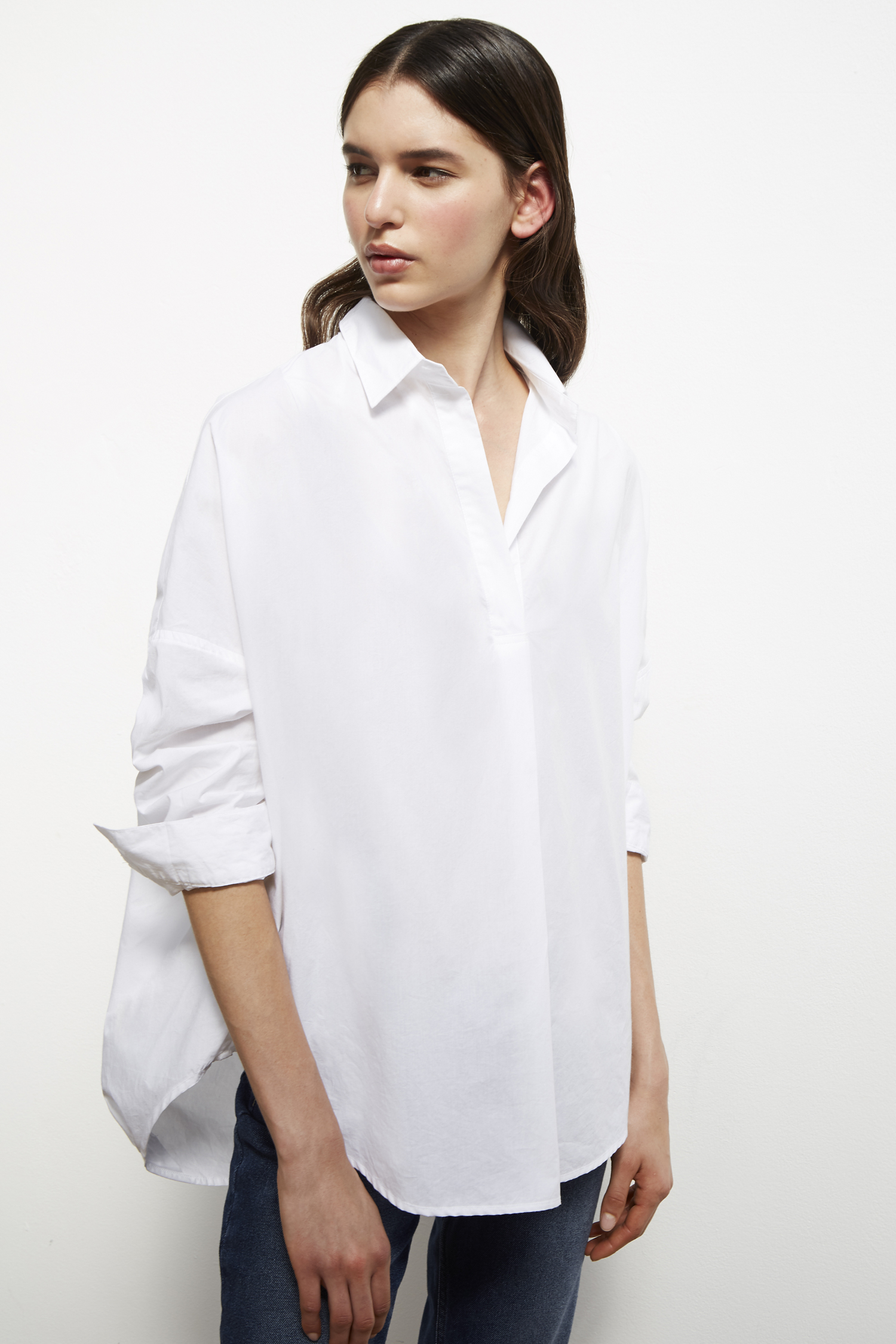 Womens White Shirts rhodes poplin relaxed fit shirt HUAFKQC
