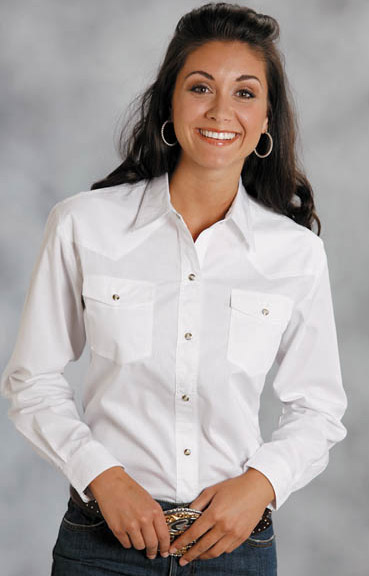 Womens White Shirts roper womenu0027s long sleeve solid western snap shirt - white UNFWNCG
