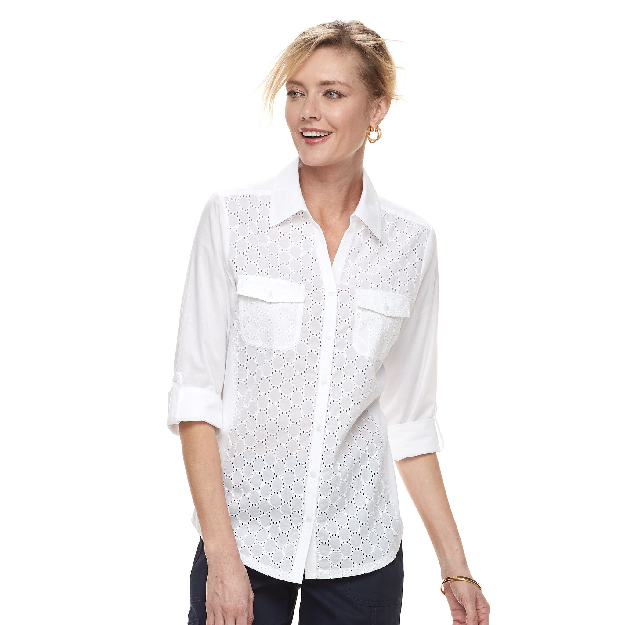 Womens White Shirts womenu0027s croft u0026 barrow® knit-to-fit roll-tab shirt YMEKCGW