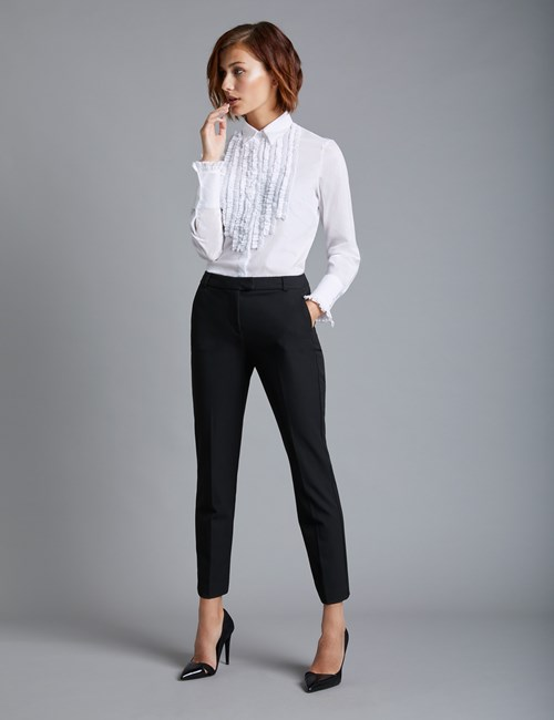 Womens White Shirts womenu0027s white boutique relaxed fit shirt with frill detail - single ... WFEKXAB